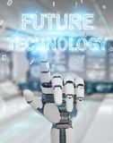 White robot hand using future technology text hologram 3D render. White robot hand on blurred background using future technology text hologram 3D rendering Royalty Free Stock Images