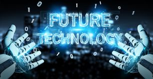White robot hand using future technology text hologram 3D render. White robot hand on blurred background using future technology text hologram 3D rendering Royalty Free Stock Photos