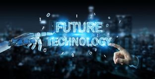 White robot hand using future technology text hologram 3D render. White robot hand on blurred background using future technology text hologram 3D rendering Stock Image