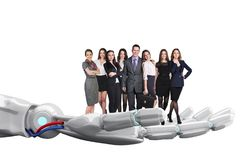Robotic hand holds group of business people. 3d rendering stock images