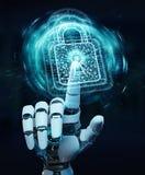 White robot hand securing digital datas 3D rendering. White robot hand on blurred background securing digital datas 3D rendering Royalty Free Stock Images