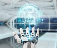 White robot hand securing digital datas 3D rendering. White robot hand on blurred background securing digital datas 3D rendering Royalty Free Stock Photos