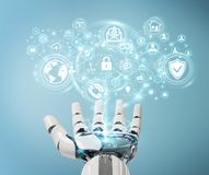 White robot hand using cyber security data interface 3D renderin. White robot hand on blurred background using cyber security data interface 3D rendering Royalty Free Stock Photo
