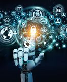 White robot hand using cyber security data interface 3D renderin. White robot hand on blurred background using cyber security data interface 3D rendering Stock Photo