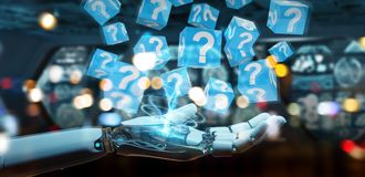 White robot hand using digital question marks 3D rendering. White robot hand on blurred background using digital question marks 3D rendering Royalty Free Stock Photo