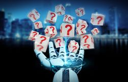 White robot hand using digital question marks 3D rendering. White robot hand on blurred background using digital question marks 3D rendering Stock Image