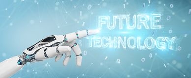 White robot hand using future technology text hologram 3D render. White robot hand on blurred background using future technology text hologram 3D rendering Royalty Free Stock Photography