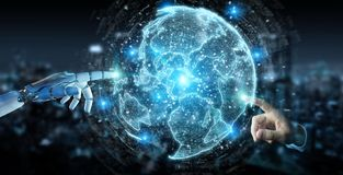 White robot hand using globe network hologram with America Usa m. White robot hand on blurred background using globe network hologram with America Usa map 3D Stock Images