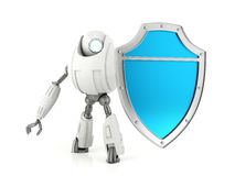 White robot holding blue shield. Security concept Royalty Free Stock Photography