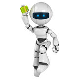 White robot jump with money Stock Image