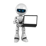 White robot with laptop Royalty Free Stock Photo