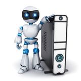 White robot and PC. White robot and computer on white background. 3d illustration Royalty Free Stock Photography