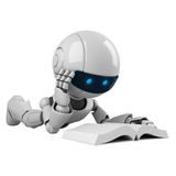 White robot read book Royalty Free Stock Photos