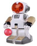 White robot with red christmas ball Royalty Free Stock Image
