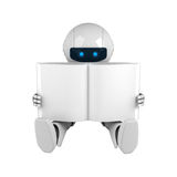 White robot sit with blank book Stock Photos