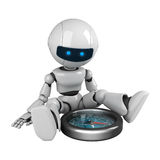 White robot sit with compass Stock Photography