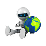 White robot sit with globe Royalty Free Stock Photo