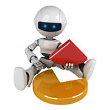 White robot sit with graph Stock Photography