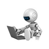 White robot sit with laptop Royalty Free Stock Photo