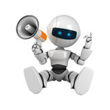 White robot sit with megaphone Stock Images