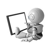 White robot sit with monitor Royalty Free Stock Photo