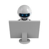 White robot sit with monitor Stock Image