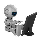 White robot sit with monitor Stock Photography