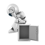 White robot sit on safe Royalty Free Stock Photo