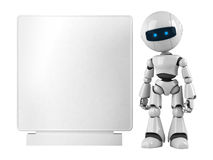 White robot stay with banner vector illustration