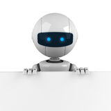 White robot stay with banner Royalty Free Stock Photography