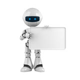 White robot stay with blank banner Stock Image