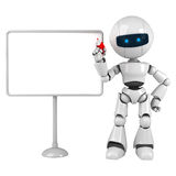 White robot stay with blank board Royalty Free Stock Photography