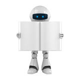 White robot stay with blank book Royalty Free Stock Photography