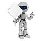 White robot stay with blank sign Royalty Free Stock Images