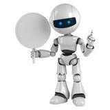 White robot stay with blank sign. Funny white robot stay with blank sign Stock Photos