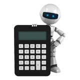 White robot stay with calculator Royalty Free Stock Photos