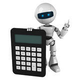 White robot stay with calculator Stock Photo
