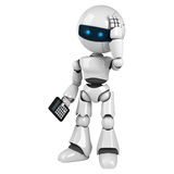 White robot stay with calculator Stock Photos