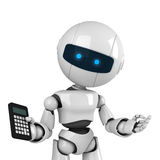 White robot stay with calculator Royalty Free Stock Photo