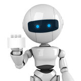 White robot stay with card. Funny white robot stay with blank card Stock Images