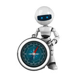 White robot stay with compass Royalty Free Stock Image