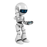White robot stay with compass Stock Photos
