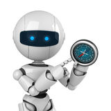 White robot stay with compass Stock Photo