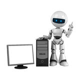 White robot stay with computer Royalty Free Stock Image