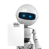White robot stay with document Royalty Free Stock Photos