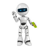 White robot stay dollars Stock Images