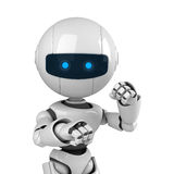 White robot stay in fighting pose. A funny white robot stay in fighting pose Royalty Free Stock Images
