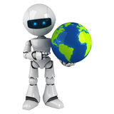 White robot stay with globe. Funny white robot stay with globe Royalty Free Stock Image