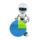 White robot stay with graph Royalty Free Stock Photos
