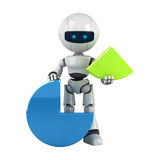 White robot stay with graph Stock Photo